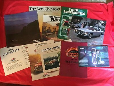 LOT 10 Ford Pontiac Chevrolet Oldsmobile Plymouth Lincoln-Mercury Car Brochures