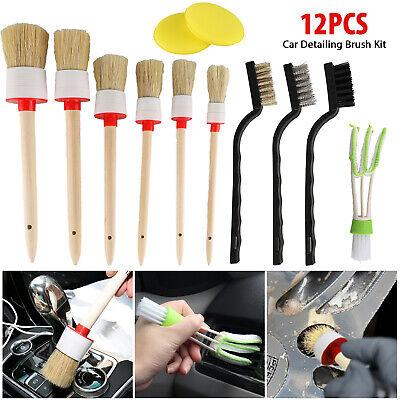 12/5x Car Interior Detailing Brush Boar Hair Wheel Air Conditione Cleaning Tools