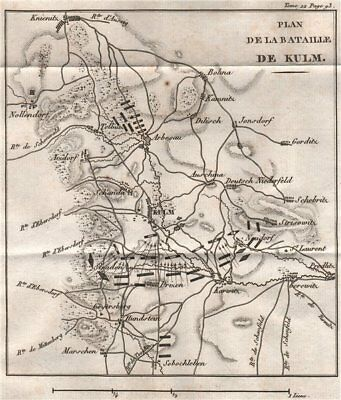 Plan of the BATTLE OF KULM (Chlumec) 1813. Czech Republic 1820 old antique map