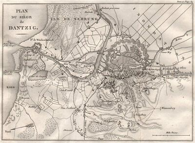 SIEGE OF DANZIG 1807. Poland 1820 old antique vintage map plan chart