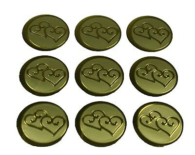 "GOLD Double HEARTS Print Wedding Round 1"" Stickers CHOOSE PACKAGE AMOUNT"