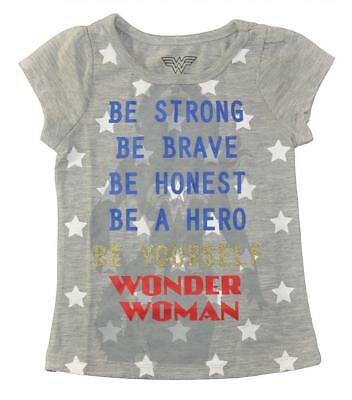 Wonder Woman Toddler Girls S/S Gray be Yourself Top Size 2T 3T 4T