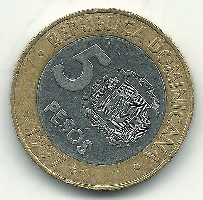A High Grade Au 1997 Dominican Republic Bimetal 5 Pesos-Feb106