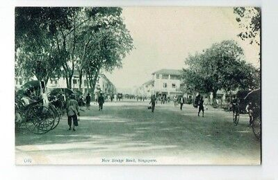 Old Postcard New Bridge Road Singapore Malaya Vintage C.1910