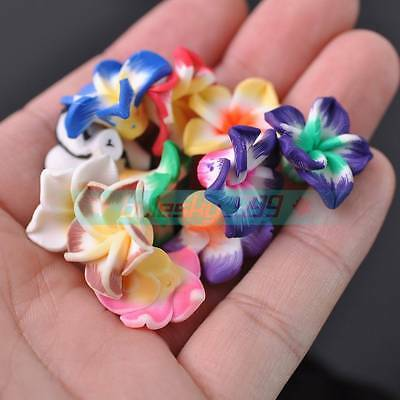 30pcs 20mm Big Flower Polymer Clay Loose Spacer Beads Random Mixed Color
