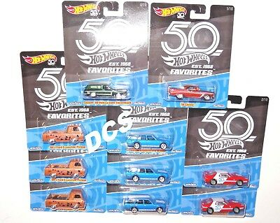 HOT WHEELS 2018 50th ANNIVERSARY FAVORITES A 10 CAR CASE FLF35-956A IN STOCK