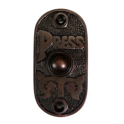 Oval Bronze Finish Press Door Bell Button Antique Old Style over Cast Brass
