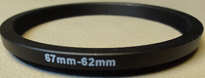 67mm to 62mm Step Down Lens Filter Ring Metal DSLR SLR Digital Camera Adapter