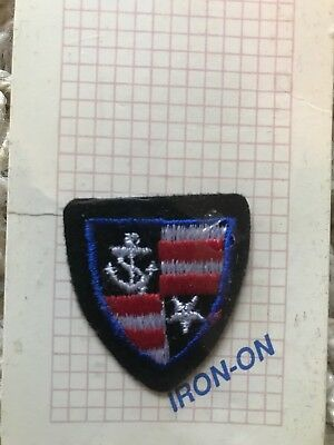 Navy Stars & Stripes Shield Embroidered Iron On Patch Applique New Anchor Crest
