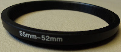 55mm to 52mm Step Down Lens Filter Ring Metal DSLR SLR Digital Camera Adapter