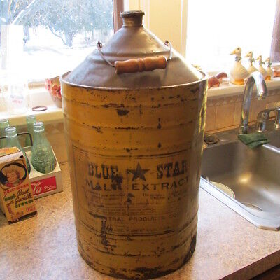 "Jackson, Mich. Blue Star Malt Extract 18"" tall metal can Central Products Co. MI"
