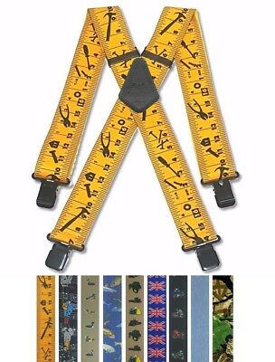 """Mens Trouser Braces Heavy Duty 2"""" 50mm Wide Dble Stitched Crosspatch Black Clips"""