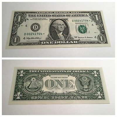 VINTAGE uncirculated 1999 CLEVELAND STAR $1 ONE DOLLAR FEDERAL RESERVE NOTE UNC