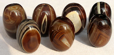 125g 7Pcs Banded Eyed Nepal Indo Tibet Agate Old Bead Amulet for Gift