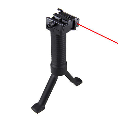 Tactical Vertical Front Grip Foregrip Rifle Bipod Stand Picatinny & Laser Sight