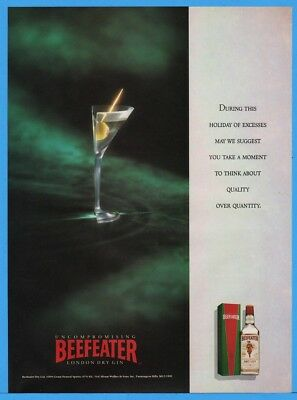 1992 Beefeater Gin UNCOMPROMISING Half A Martini Photo Holiday Quality Print Ad