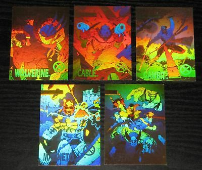 Marvel X--Men Series 1 1992 Impel Set of 5 Hologram Chase Cards XH1-XH5