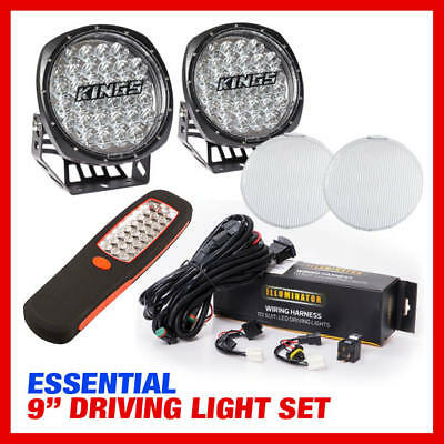 """Adventure Kings Essential 9"""" Driving Light Set Wiring Harness Included"""