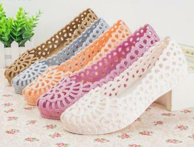 4ce08b47ddd1 Women s Jelly Ballet Flats Slip On Shoes Hollow Out Garden Plastic Water New