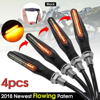 4x Motorcycle LED Turn Signal Lamp Sequential Flowing Indicator Light Amber AU
