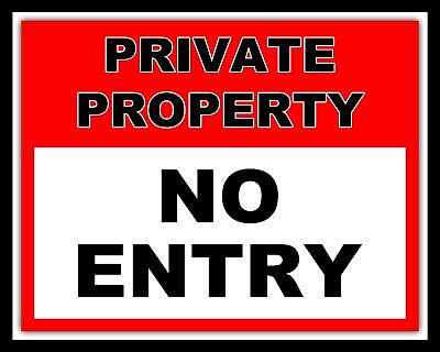 Private Property No Entry - Through Road Trespassing Metal Sign Tin Plaque 995