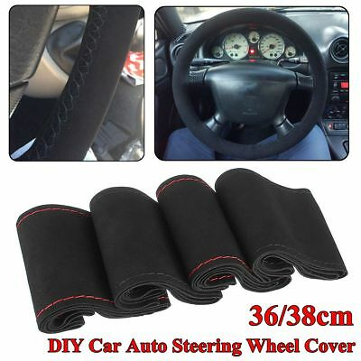 Universal 36/38cm DIY Car Auto Steering Wheel Cover Suede Super Fiber Leather