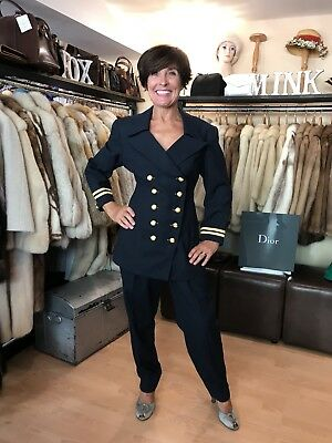 Stunning True Vintage 1980's Navy Military Style Suit By Extenzo - Size 10/12