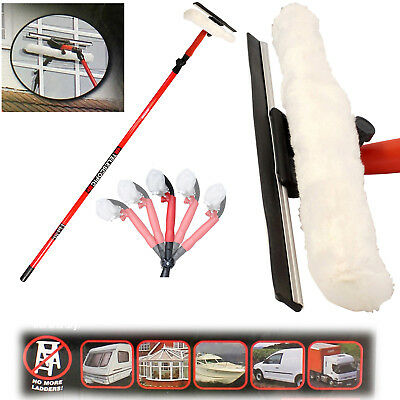3.5m 10ft Telescopic Window Cleaner Cleaning Kit Extending Wash Head Squeegee