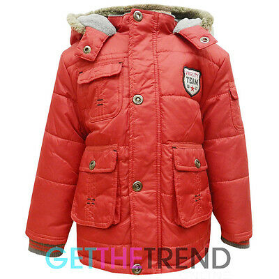 Boys Padded Jacket Baby Toddlers Hooded Fur Trim Winter Jackets Zipped Coat