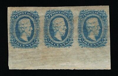 Genuine Confederate Csa Scott #11 Mint Og Blue Die-A Strip Of 3 Archer & Daly