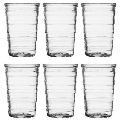 Ravenhead Rippled Glass Tumbler Set Stackable Juice Water Glasses Set of 6