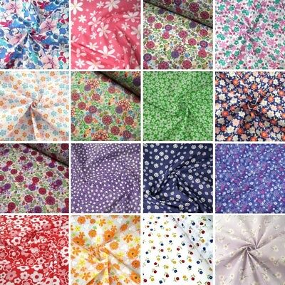 Polycotton Fabric Stylised Floral Flower Collection Buy 3 Get 1 Free Flowers