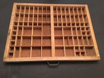 """Vintage Printers Type Set Cabinet Drawer Wood Tray approx 21 1/2"""" x 16 1/2"""""""
