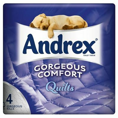 6 x AndrexGorgeous Comfort Quilts White Toilet Tissue Rolls - 4 Rolls