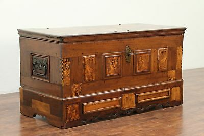 Dowry Chest or Trunk, Marquetry Birds, Wrought Iron Lock, 1760 Antique  #29120