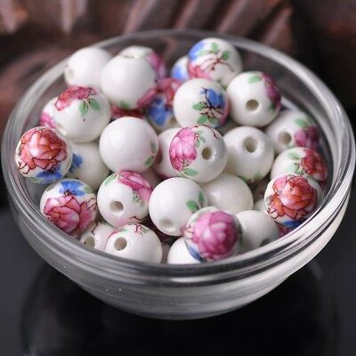 NEW 20pcs 12mm Round Ceramic Smooth Flower Pattern Loose Spacer Beads  #35