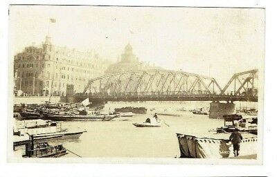 Old Postcard Garden Bridge Shanghai China Real Photo Vintage 1920S