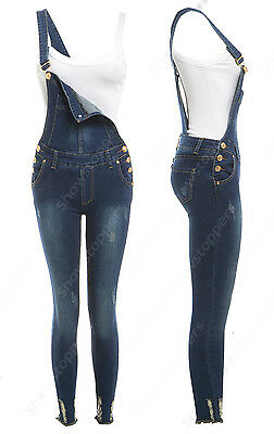 NEW SALOPETTE STRETCH DENIM ADERENTE Donna Size 6 8 10 12 14 16 salopette Jean