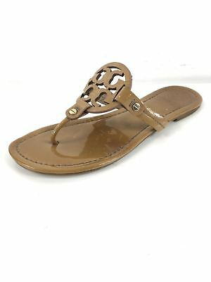 57c5a0867c87 Q38 TORY BURCH Miller Sand Patent Leather Thong Sandals Women Size 8 ...