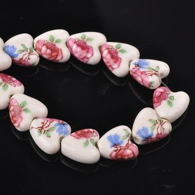 NEW 10pcs 14mm Ceramic Heart Flowers Loose Spacer Beads Findings Pattern #20