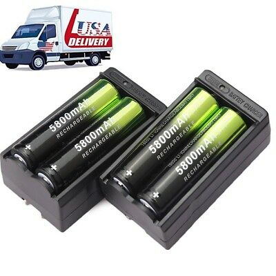 4X 18650 5800mAh Rechargeable Battery Li-ion 3.7V Batteries + 2X Smart Charger .