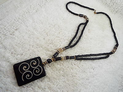 Tribal Black Wood & Stone Bead Acrylic Pendant Necklace  (A42)