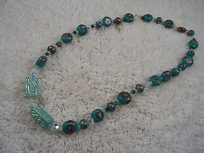 Teal Blue Glass Bead Necklace (B39)