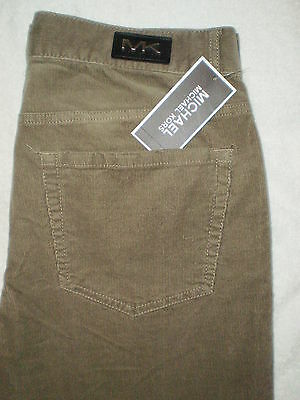 Michael Kors Mid Tapered Mens Tan Corduroy Stretch Jeans Many Sizes New $89