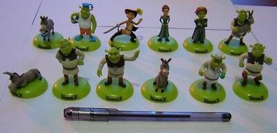 SHREK Rare SET 12 Mini Figurine Collection 5cm FIONA OGRE ET JOYEUX NOËL CHAT