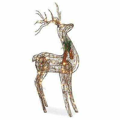 Sylvania Outdoor Decor 48 Inch Grapevine Standing Deer, 70 Clear Lights