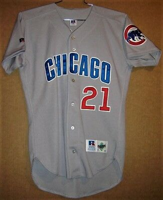 CHICAGO CUBS SAMMY SOSA GRAY BUTTON-DOWN (Size 40) ROAD MLB JERSEY