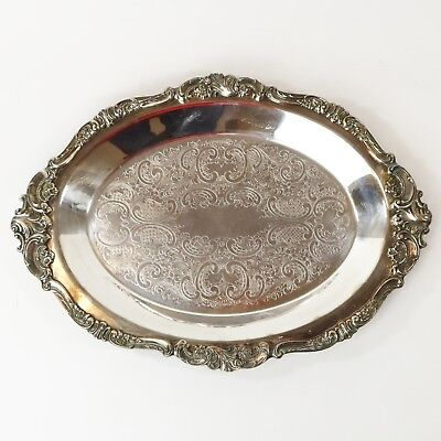 Vtg Baroque by Wallace Tray Platter Silver Plated Oval #273, Silverplate
