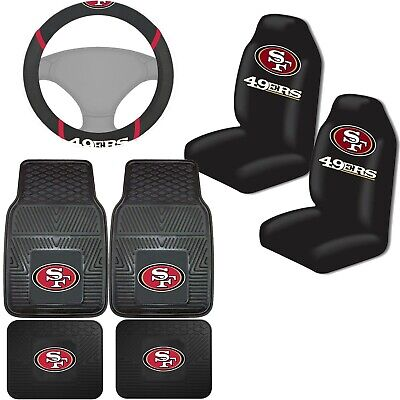 cb992335410 NFL San Francisco 49ers Car Truck Seat Covers Floor Mats & Steering Wheel  Cover