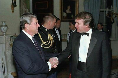 Donald Trump Greeted by President Ronald Reagan at White House - Modern Postcard